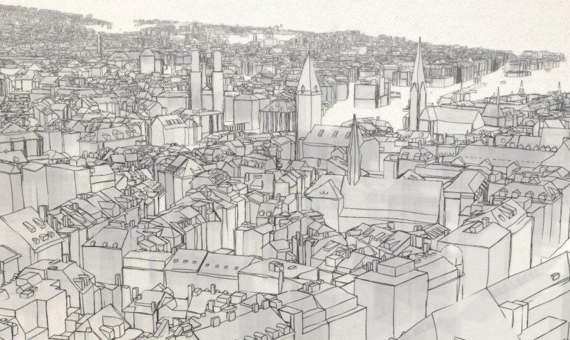 Stadt Zürich in 3D und mit Sketch Effekt